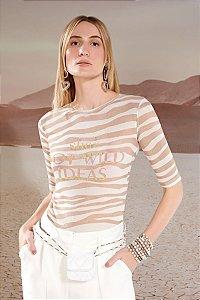 Blusa de Tule Listrada Sand