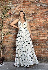 Vestido Longo Chiffon Bordado Flores