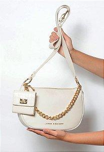 Bolsa Tiracolo Couro Off White com Micro Bag