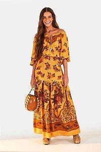 Vestido Longo Floral Ponto Cruz
