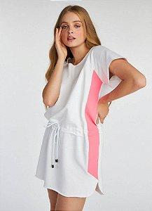 Vestido descolado branco e rosa