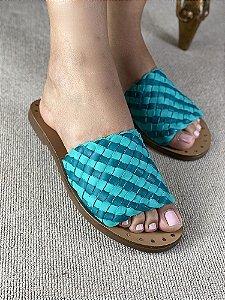 Sandalia Azul de Couro