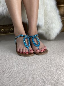 Sandalia Azul de Pedraria