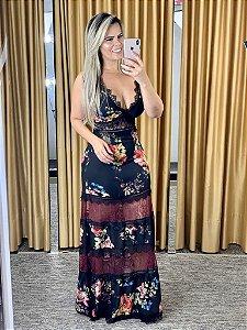 Vestido longo de chiffon com renda estampa floral 38