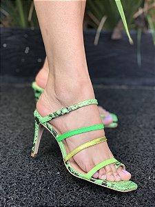 Sapato Alto Animal Print verde
