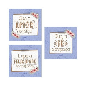 Kit Plaquinhas - Amor, Fé, Felicidade