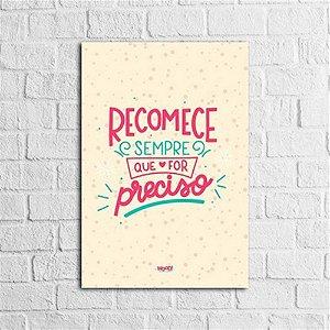 Placa Lettering - Recomece