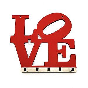 Porta Chaves Love Vermelho em MDF