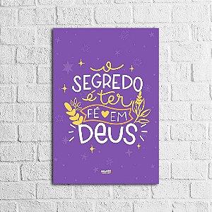 Placa Lettering - Fé em Deus