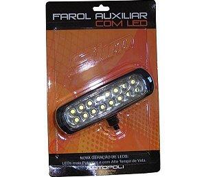 Farol Auxiliar Led 12v 24v Bivolt Slim 16 Leds Super Bco 930