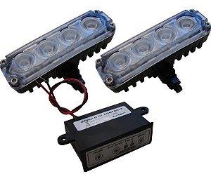 Kit Farol Auxiliar Power Slim 4 Leds Super Bco 24v 4w Al209