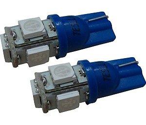 Kit Lâmpada Led Kit Super Led Smd T10 12V Azul (Par) 5 Leds