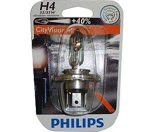 Lâmpada H4 12V 3535W City Vision Moto ( 40% + Luz )