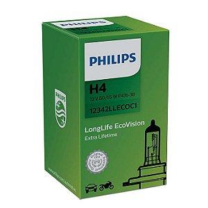 Lâmpada Philips H4 12V 60 / 55W Longlife Ecovision 4X Mais Durabilidade