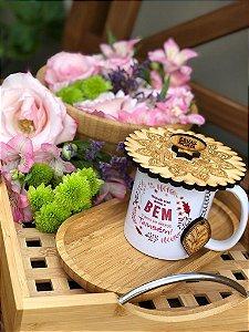 Kit Abafador de Bambu e Infusor de inox de chá