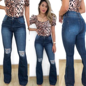Calça Jeans Flare Marina Rasgos
