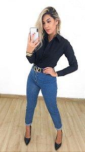Calça Jeans Mom Button