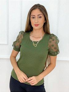 Blusa Canelada Manga Bufante Verde
