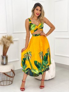 Conjunto Saia e Top Tropical Amarelo
