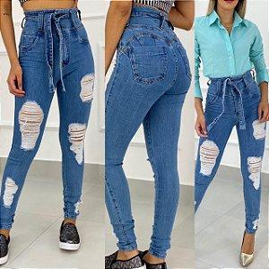 Calça Jeans Cós Alto Destroyd