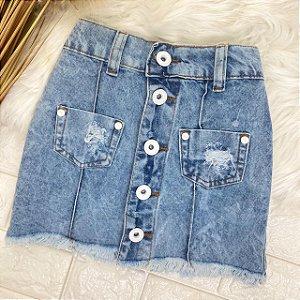 INFANTIL - Saia Jeans Botões Brancos