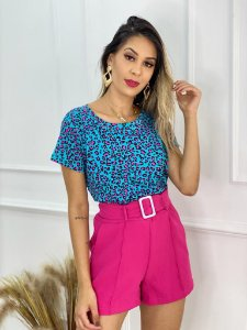 Camiseta Estampa Animal Print Minimal Azul E Pink