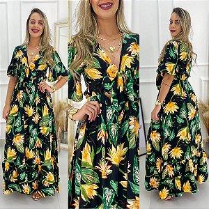 Vestido Longo Preto Flores Decote Laço