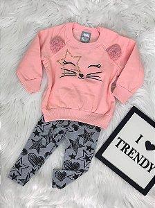 INFANTIL/BABY - Conjunto Moletom Rosa Cat