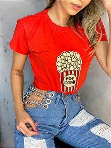 T-Shirt Popcorn Vermelha