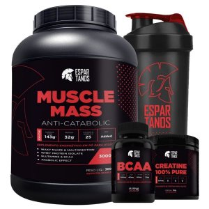 Muscle Mass 3kg + Bcaa + Creatina + Shaker - Espartanos