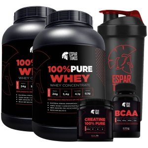 Kit 2x Whey 100% Pure Concentrado + Bcaa + Creatina + Shaker