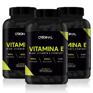 Kit 3x Vitamina E 60 Cáps - Original Nutrition