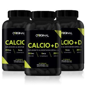 Kit 3x Calcio + D 60 Cáps - Original Nutrition