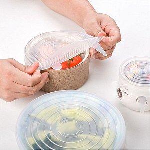 Conjunto 6 peças Tampas Veda tudo Silicone Livre de BPA