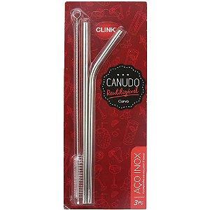 Kit Canudo 21,5x0,5 cm CLINK AÇO INOX