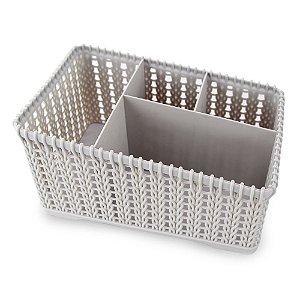 Cesto Organizador com 4 divisórias clink 20x13,5x10cm