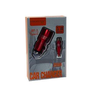 CARREGADOR VEICULAR COM CABO TYPE-C  3.1A L01-3 HMASTON