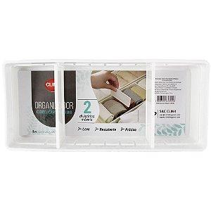 Caixa Organizadora CLINK de Plástico COM 2 DIVISÓRIAS 27 x 12 x 5 cm
