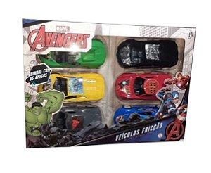 Kit com 6 Carrinhos de Fricção Heroes Vingadores Toyng
