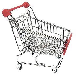 Carrinho de supermercado porta objetos inox wellmix gift