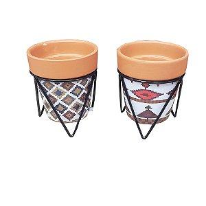 Mini vaso 7cm cerâmica estampado com suporte metal estampado golden rio