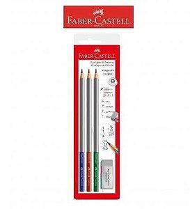 Lápis de Escrever Graphicolor Faber Castell - Blister com 3 Lápis + Borracha