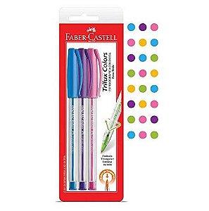 Caneta Esferográfica Trilux Colors  Ponta média com 3 Cores  - Faber Castell