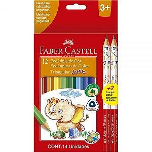 12 ecolápis de cor jumbo triangular + 2 ecolápis grafite faber castell