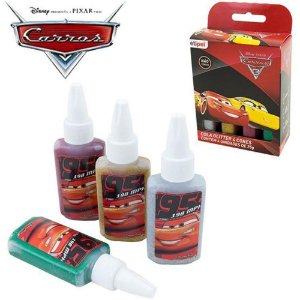 Kit Com 4 Cores Cola Glitter Carros