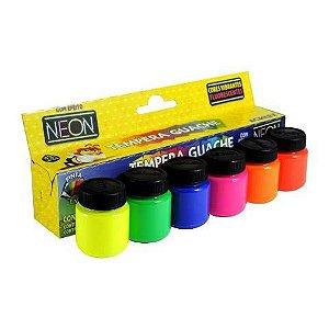 Tempera Guache 6 Cores Neon Acrilex