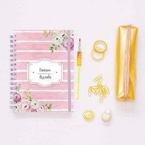 Caderno - Listrado rosa