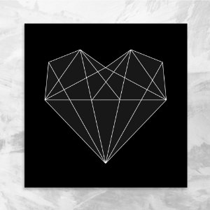 Quadro 18x18 - Coração geométrico