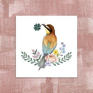 Quadro 18x18 - Pássaro flores