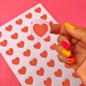 Adesivo Redondo Coração 3x3cm